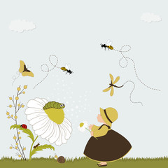 Cute girl in garden with chamomile and insects
