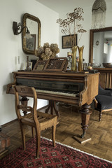 old-fashioned interior with piano