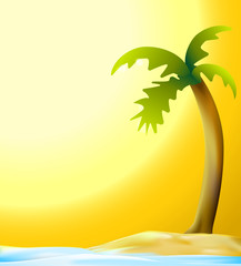 palm and beach in sunset vector background