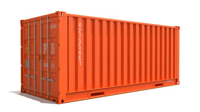Orange Cargo Container Isolated on White.
