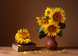 Sunflowers in ceramic vase