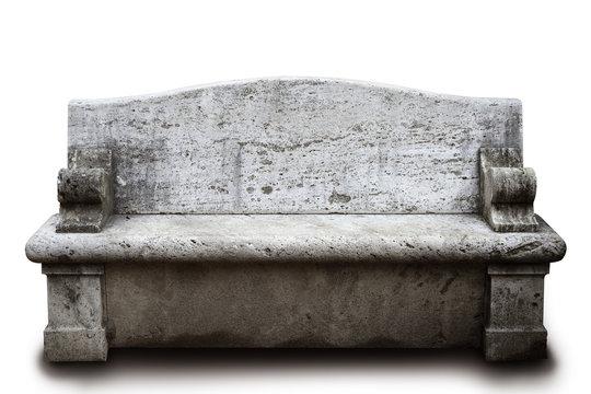 stone bench on white background