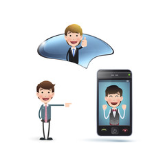 Business people with realistic phone over white background