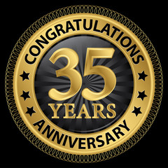 35 years anniversary congratulations gold label with ribbon, vec