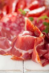 antipasti Platter of Cured Meat,   jamon, sausage, salame on whi