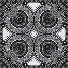 grey ornamental floral paisley bandanna