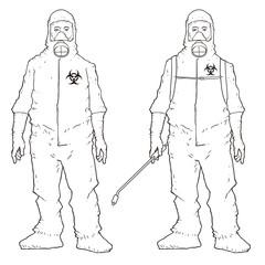 Man in protective suit, sketchy Vectors