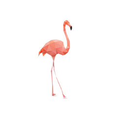 Vector - flamingo geometric (illustration of a many triangles)