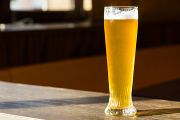 Sunlit Glass of Beer on Table