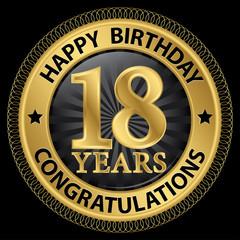 18 years happy birthday congratulations gold label, vector illus