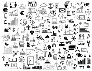 Collage of business symbols