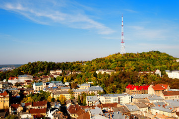 aerial view of Autumn cityscape with tv tower