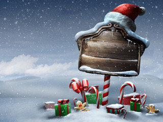 Beautiful Christmas sign outdoors day scene