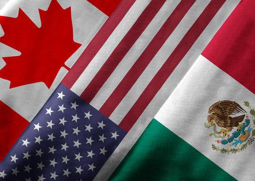 3D Rendering of North American Free Trade Agreement Members
