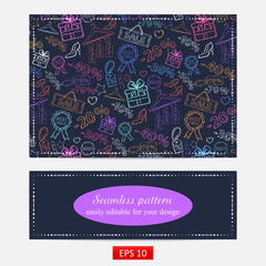 Pattern on shopping, themed design with different elements:sale,