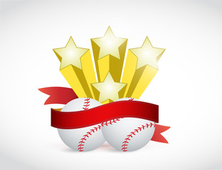 baseball champion ribbon illustration