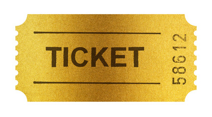 Golden ticket isolated on white with clipping path