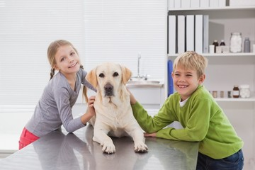 Cute labrador with its happy owners