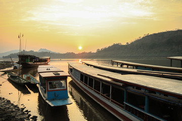 Sunset at Mekong river