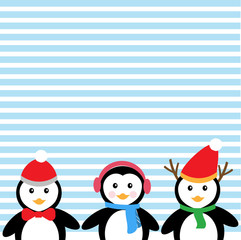 Blue background and penguins for Christmas Holiday