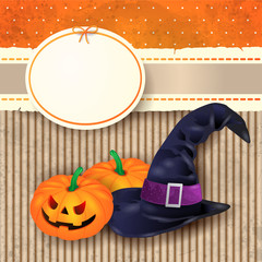 Halloween background with witch's hat and pumpkins