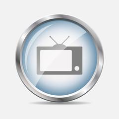 TV Glossy Icon Vector Illustration