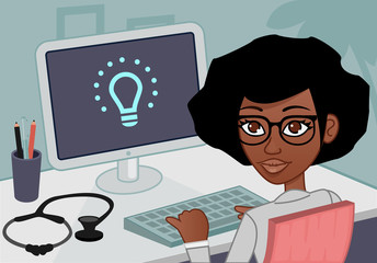 Smiling medical doctor woman with stethoscope with a computer