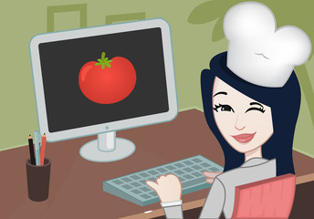 Chef with a computer