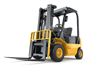 Forklift truck on white isolated background.