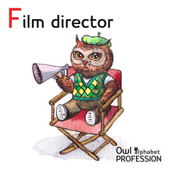 Alphabet professions Owl Letter F - Film Director character on a