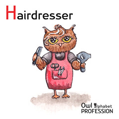 Alphabet professions Owl Letter H - Hairdresser character on a