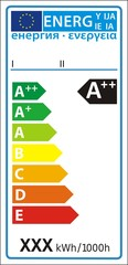 Lamp new energy rating graph label in vector.