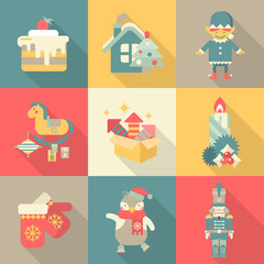 Christmas chararters sweets New Year icon set flat style concept