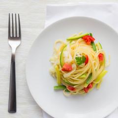 Spaghetti with Zucchini, Leeks and Fresh Tomato