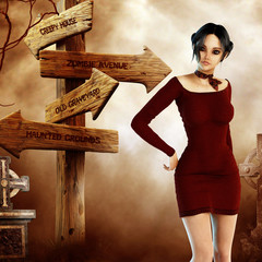 Woman with signpost to creepy places