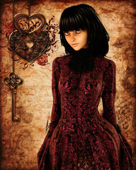 red victorian girl