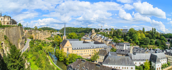 A cityscape of Luxembourg city in Luxembourg