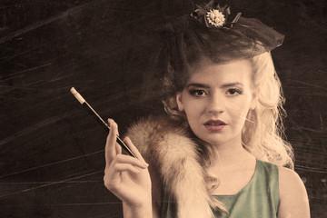 Beautiful woman in retro style, on dark background