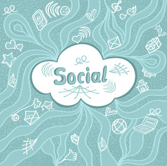 Abstract social cloud in doodle style on blue background