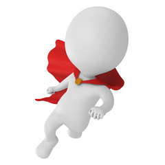 3d brave superhero with red cloak flying
