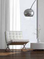 Ledersitz mit Beistelltisch und Lampe