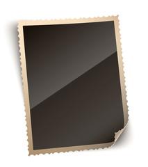 Vintage Curled Corner Photo Paper Frame Vector Illustration