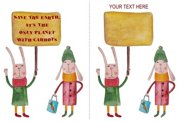 Cartoon. Slogan proclaiming by rabbits
