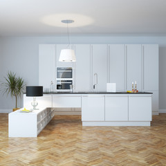 New modern interior kitchen with plant and parquet