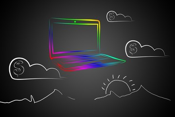 Modern laptop art illustration