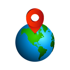 Map pin pointer icon on earth  North America