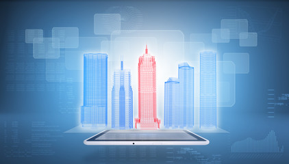 Glowing wire-frame buildings on screen tablet pc