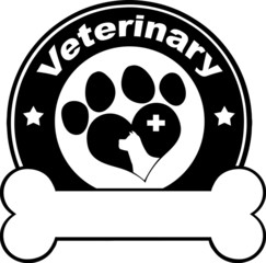 Veterinary Black Circle Label Design With Love Paw Dog