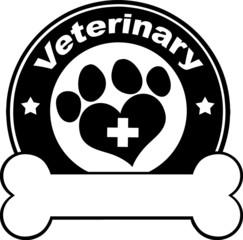 Veterinary Black Circle Label Design With Love Paw Print