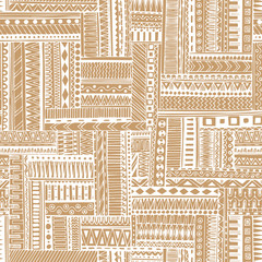 Abstract striped textured geometric tribal seamless pattern.